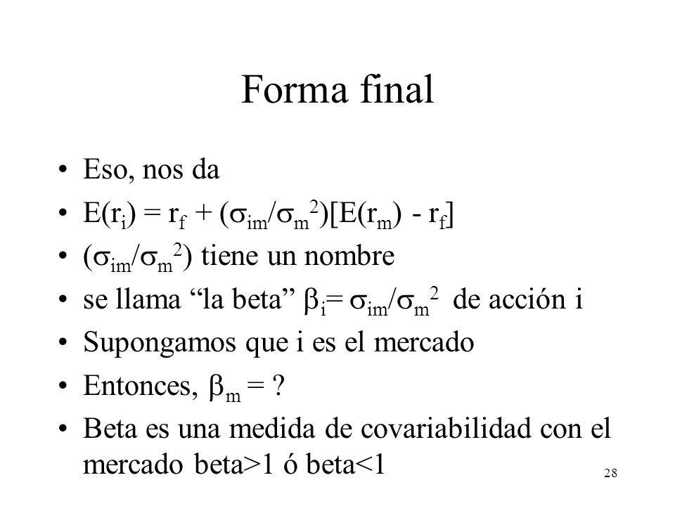 Forma final Eso, nos da E(ri) = rf + (sim/sm2)[E(rm) - rf]